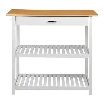 go2buy casa isla de cocina con cajones y estantes de almacenamiento para carrito de cocina carrito de utilidad blanco: Amazon.es: Hogar