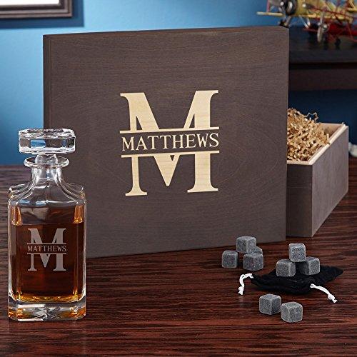Oakmont Personalized Whiskey Set with Wood Gift Box (Customizable Product) (Whiskey Gift Baskets)