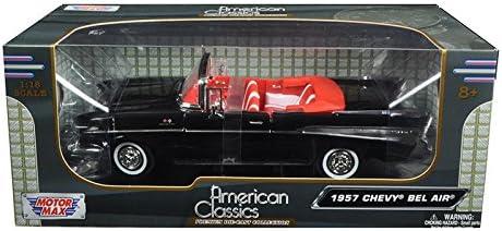 1957 CHEVROLET BEL AIR CONVERTIBLE BLACK 1:18 DIECAST MODEL BY MOTORMAX 73175