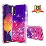 Samsung Galaxy A70 Case, Galaxy A70 Phone Cases with HD Screen Protector for Girls, Atump Glitter Liquid Clear Diamond TPU Phone Cover Case for Samsung Galaxy A70 Purple/Rose Atump