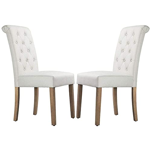 Yaheetech Dining Chair Dining Room Chair Living Room Side Chairs Tufted Parsons Chairs for Hotel, Restaurants, Wedding Banquet, Meeting, Celebration Beige, Set of 2
