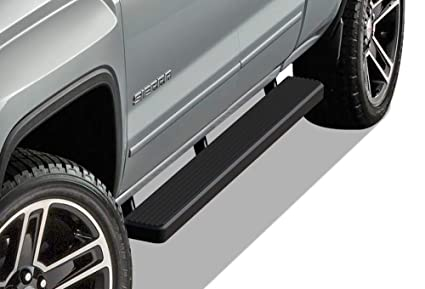 APS iBoard Running Boards 5 inches Matte Black Custom Fit 2007-2018 Chevy  Silverado GMC Sierra Double Extended Cab & 2019 2500 3500 HD (Exclude 07