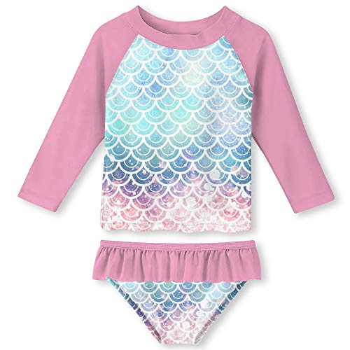 Girls Rash Guard Swimsuit Set Stylish 3D Print Pink Mermaid Scales Quick Dry Stretchy Neckline Bikini Pink Swimwear 3-4 Years ()