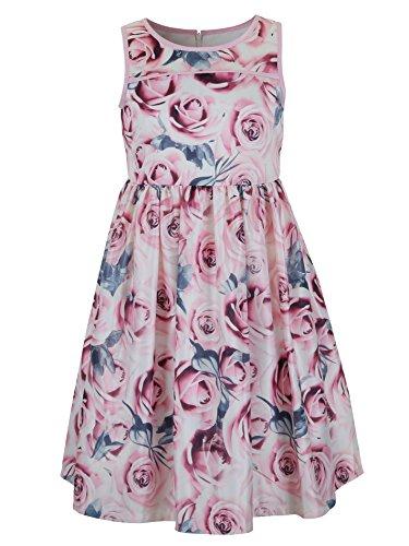 3 Tier Dress (EMMA RILEY Girls' Satin Three-Tier Party Dress 10 Pink)