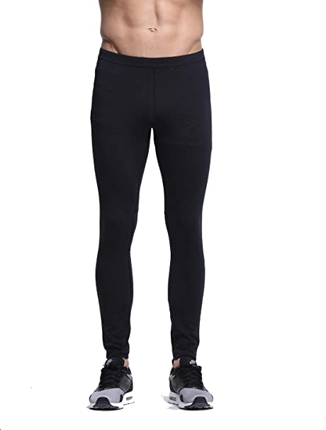 a3f0c154ab6 Men s Gym Workout Leggings Compression Sports Tights for Cycling Jogging  with Pockets Black