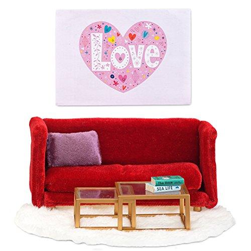 Lundby Smaland 1:18 Dollhouse Sitting Room Red Furniture Sofa and Chair (Sitting Room Furniture)