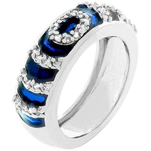 - Freedom Fashion Navy Blue Enamel Ripple Ring