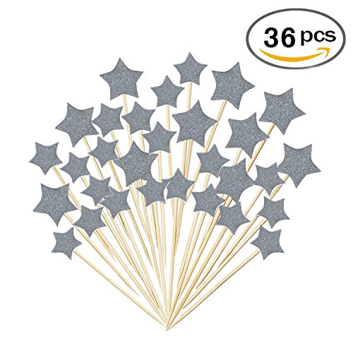 36 Pieces Cake Toppers Cupcake Silver Star Topper Star Cake Decor for Birthday Wedding Ceremony (Cake Star Birthday)