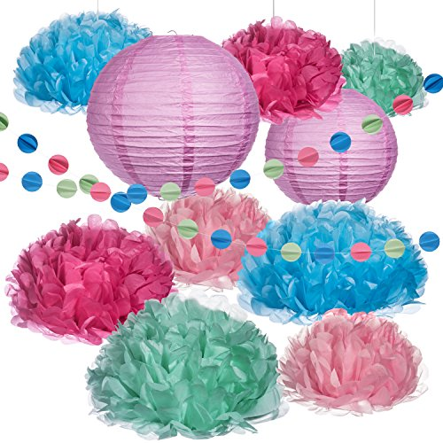 Haute Soiree - Ultimate Pastel Party Decoration Pack -Pom Poms, Lanterns, and Streamers - Perfect for Birthdays, Bridal Showers, Baby Showers, or Weddings