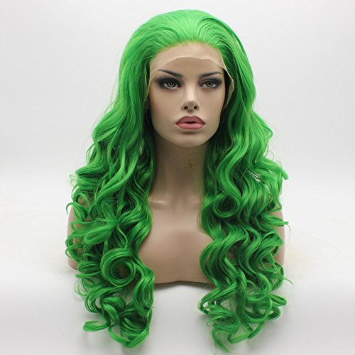 Lushy Fashion Wavy Long Green Half Hand Tied Heat Resistant Heavy Density Synthetic Lace Front Wig -