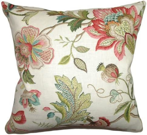 The Pillow Collection Adele Crewels Pillow, Multicolor