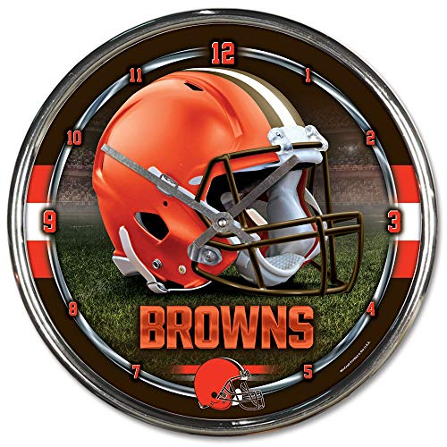 Browns Wall Cleveland - Nfl Football Team Chrome Wall Clock , Cleveland Browns , 12-Inch