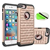 Coolzu(TM) iPhone 6 6S Case Heavy Duty Shock Absorbing Hybrid Stud Rhinestone Bling Dual Layer Protection Cover for Apple iPhone6 iphon6s Cases 4.7 Inch (Rose Gold)