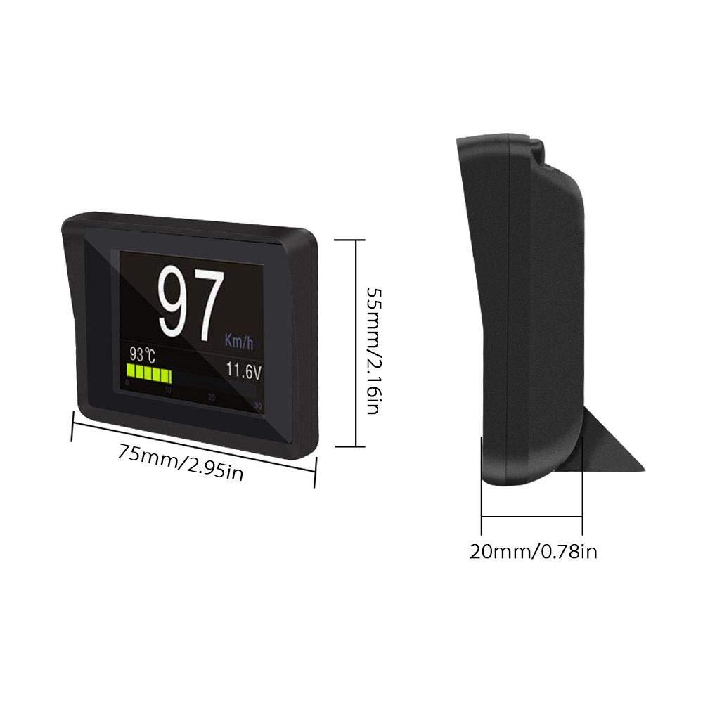 LayOPO OBD/OBD2 medidor digital inteligente, pantalla de subida de cabezales OBD/OBD2, indicador de temperatura OBD, velocímetro digital Hud, voltaje, ...