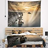 Designart TAP7432-39-32 'Liencres Rocks on Coast in Spain' Landscape Tapestry Blanket Décor Wall Art for Home and Office, Medium: 39 in. x 32 in, Created on Lightweight Polyester Fabric