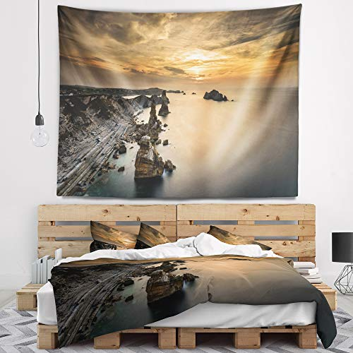 Designart TAP7432-39-32 'Liencres Rocks on Coast in Spain' Landscape Tapestry Blanket Décor Wall Art for Home and Office, Medium: 39 in. x 32 in, Created on Lightweight Polyester Fabric by Designart