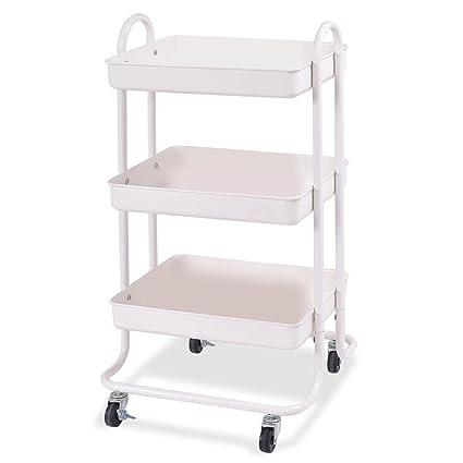 3 Tier Cart Kitchen Rolling Steel Shelf Storage Trolley Cabinet Island  Serving