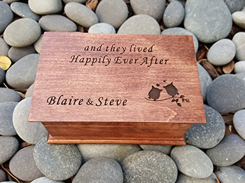 Custom engraved musical jewelry box with owls and they lived Happily Ever After engraved on top along with your names, you can choose your color and song by Simplycoolgifts