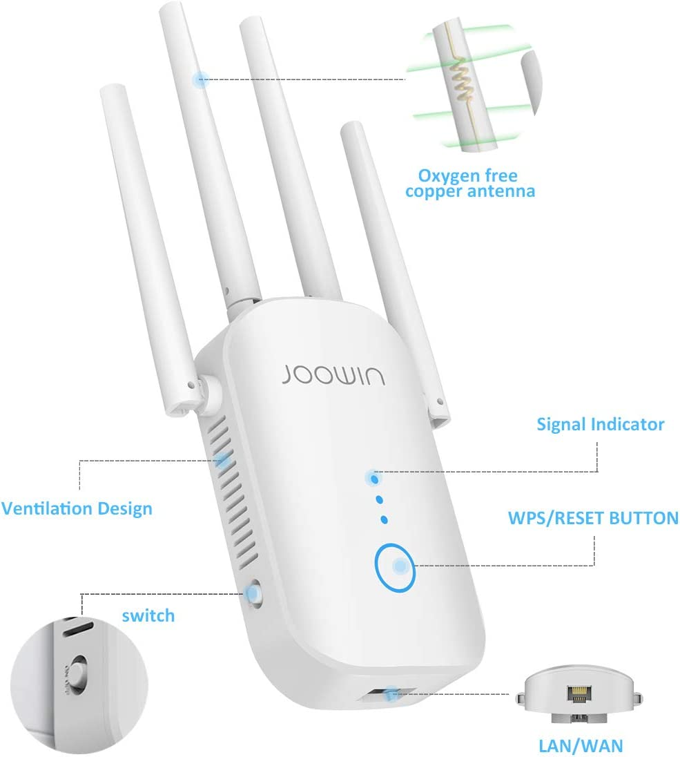 WiFi Extender JOOWIN AC1200 WiFi Range Extender Up to 1200mbps 2.4 /& 5.8GHz Dual Band Wireless Signal Booster WiFi Repeater with External Antennas Extends Internet WiFi to Smart Home /& Alexa Devices