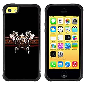 Suave TPU Caso Carcasa de Caucho Funda para Apple Iphone 5C / Viking Belt Sword Attire Outfit Warrior Design / STRONG