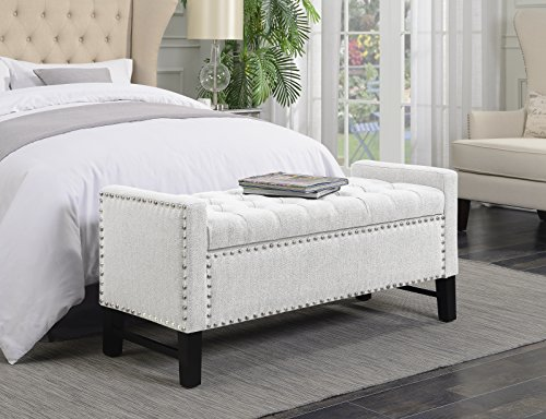 Iconic Home Lance Bench Polished Nailhead Trim Linen Tufted Storage Ottoman with Espresso Wood Legs Modern Transitional, Cream