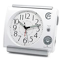 JCC Music Alarm Sound Large Numbers Adjustable Volume Silent Non Ticking Sweep Quartz Analog Bedside Desk Alarm Clock with Snooze, Night Light , Battery Operated