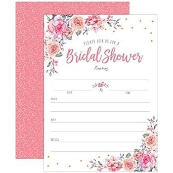 Amazon spring summer floral bridal shower invitations pink and spring summer floral bridal shower invitations pink and gold wedding bridal shower invitations bridal filmwisefo