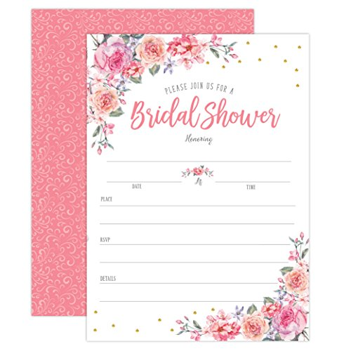 Spring Summer Floral Bridal Shower Invitations, Pink and gold wedding bridal shower invitations, Bridal shower invitations, engagement party invitations, 20 Count invites with (Pink Floral Wedding Invitation)