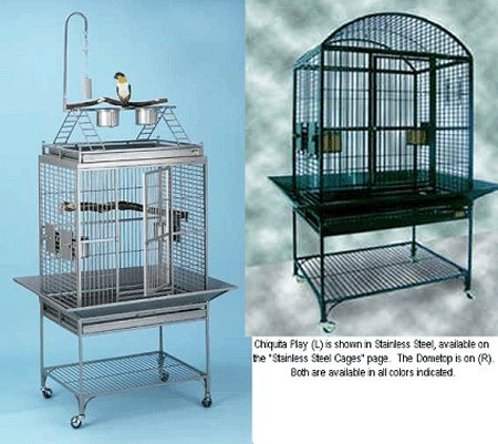 (Avian Adventures Chiquita: Two Top Options Bird Cage - Platinum - Dometop )