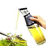 Glass Oil Dispenser Bottle, Glass Olive Oil/Vinegar/Sauce Dispenser Cruet with Drip-Free Spouts, Durable Oil Pourer Bottles Olive Oil Container Pot Perfect for Kitchen & BBQ, 17 oz/500 ML.