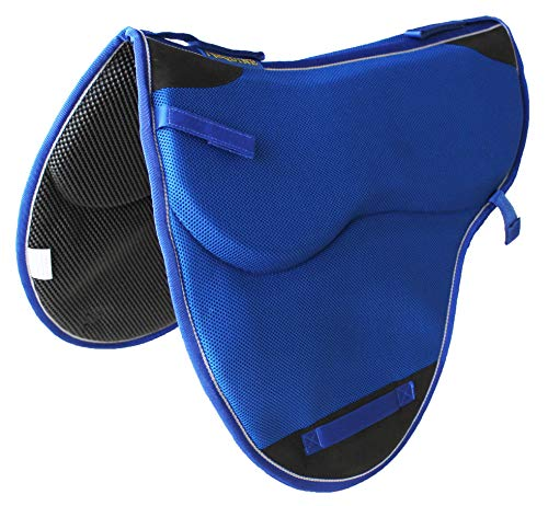 Blue Saddle Pads - Pro Rider Horse English Endurance Trail Treeless Non-Slip Neoprene Saddle Pad Blue 6405RB