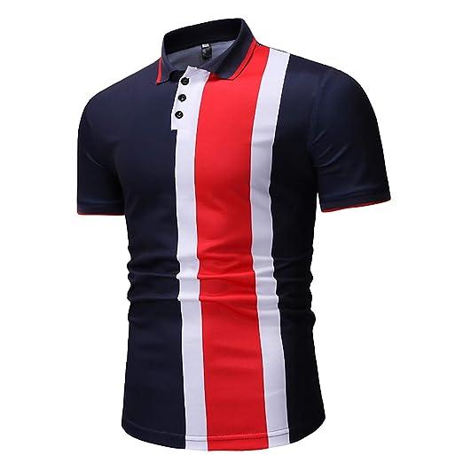 W&TT Hombre Colorblock Polo, Moda Casual Manga Corta Solapa tee ...