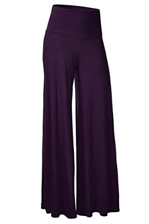 AuntTaylor Womens Comfy Vintage Solid Color Palazzo Lounge Pants Purple 3XL
