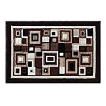 Modern Rug Door Mat 2 Ft. X 3 Ft. Brown Design #125