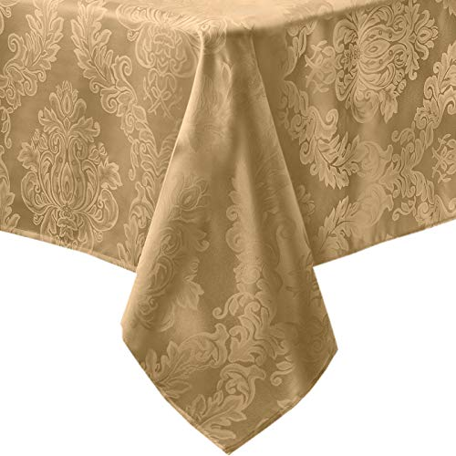 Newbridge Barcelona No-Iron Soil Resistant Fabric Damask Tablecloth - 60 X 120 Oblong - Gold (Damask Tablecloth 120 Round)