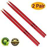 Drum sticks 5a Wood Tip drumsticks Classic Red drum stick (2 pair Red -5A drumstick)
