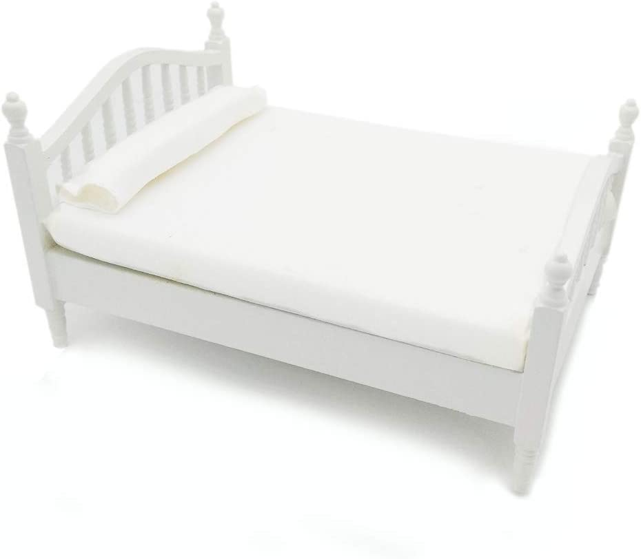 Dollhouse Wooden Queen Bed 1/12 Scale Miniature Furniture Double Bed White for Bedroom