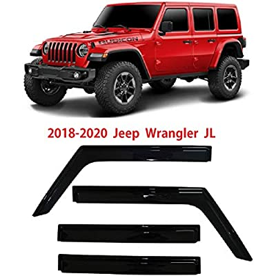 Optimal Co Smoke Tinted Side Window Vent Visor Deflectors Rain Guards for 2020 2020 2020 Jeep Wrangler JL Unlimited 4 Door & 2020 Jeep Gladiator JT - 4 Piece Set: Automotive