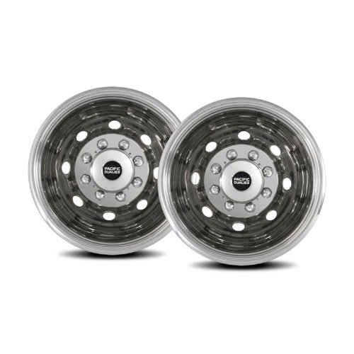Pacific Dualies 34-3608A 16'' Polished Stainless Steel Wheel Simulator Rear Tag Axle Kit for 1992-2007 Ford E350,E450 Van RV Motorhome by Pacific Dualies