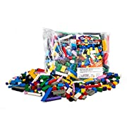 """Amazon Lightning Deal 77% claimed: Building Bricks - 500 Pc """"Big Bag of Bricks"""" Bulk Blocks with 27 Roof Pieces - Tight Fit with All Major Brands"""