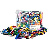 """Building Bricks - 500 Pc """"Big Bag of Bricks"""" Bulk Blocks with 27 Roof Pieces - Tight Fit with All Major Brands"""