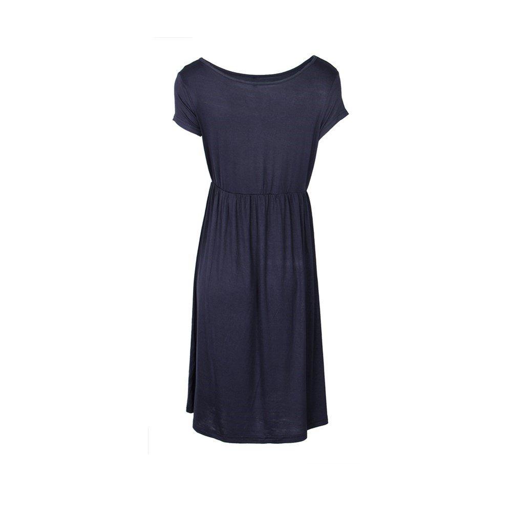 Primoda Women Casual Short Sleeve Waist Tunic TShirt Dresses(Dark bluee,XL)