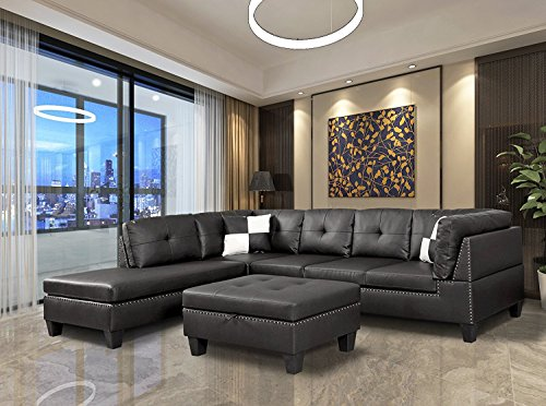 WINPEX 3 Piece Nail Head Faux Leather Sectional Sofa +Ottoman Storage Foot Stool | Left Facing Orientation (Black)