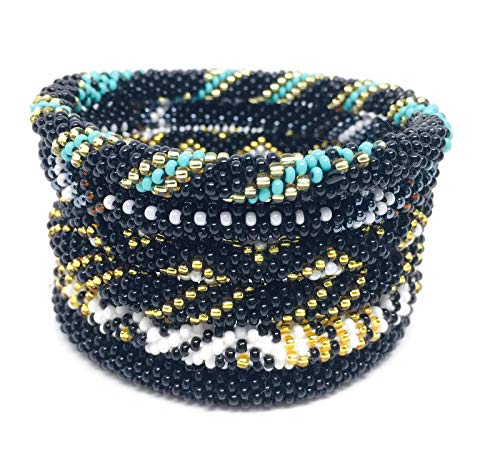 - Kissed Karma Pick Your Favorite Colors Nepal Bracelets. 6 Pcs Set Made with Premium Glass Seed Beads. (Gothic Blacks)