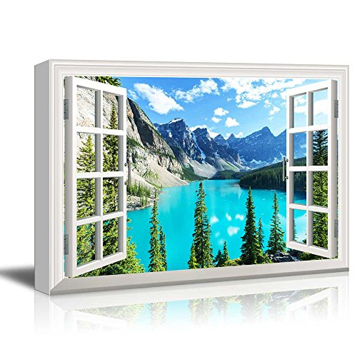 Window View Landscape with Blue Lake and Trees in Mountains