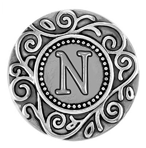 Ginger Snaps FILIGREE INITIAL N SNAP SN33-40 Interchangeable Jewelry Snap Accessory ()