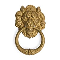 Chinese Brass Frowning Lion Door Hardware Pull 7.5""