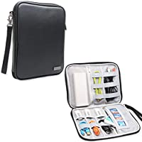 Teamoy Electronic Organizer, Travel Gadget Bag for Cables, USB Flash Drive, CF Card, Earphone, Plug and More, High Capacity and Compact--PU Leather