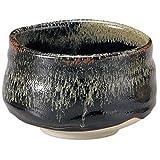 """Mino-yaki Matcha bowl YuzuTenmoku Y-1673 """"black iron"""""""