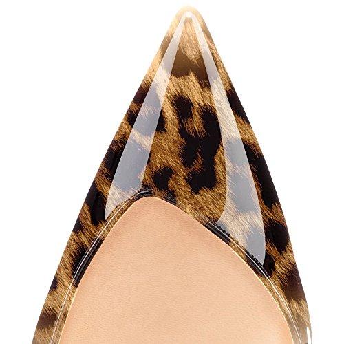 Donna Heels Leopardo ELASHE Slingback Fibbiaco da Marrone Caviglia Con Cinturino Scarpe 10CM Gattino Tacco Sandali wOwqBYfxE